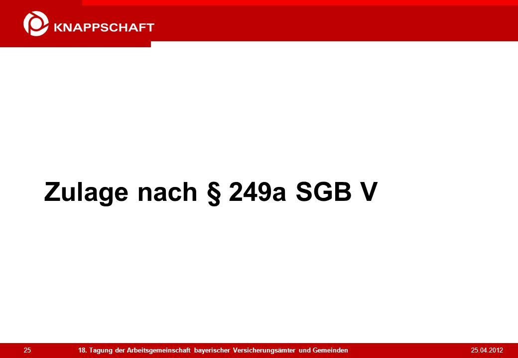 Zulage nach § 249a SGB V18. Tagung der Arbeitsgemeinschaft bayerischer Versicherungsämter und Gemeinden.