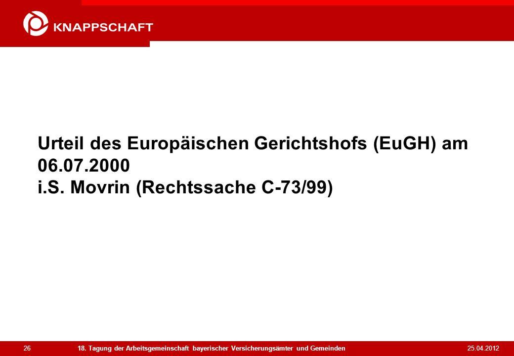 Urteil des Europäischen Gerichtshofs (EuGH) am 06. 07. 2000 i. S