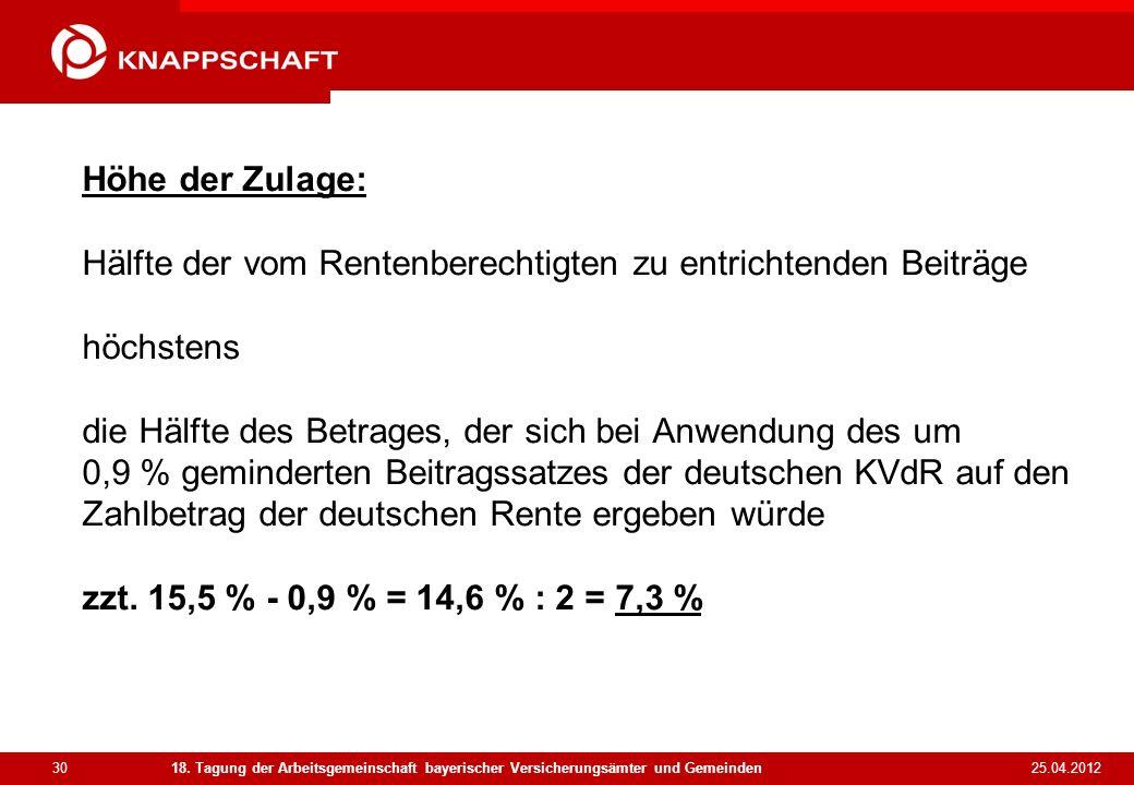 Höhe der Zulage: Hälfte der vom Rentenberechtigten zu entrichtenden Beiträge höchstens die Hälfte des Betrages, der sich bei Anwendung des um 0,9 % geminderten Beitragssatzes der deutschen KVdR auf den Zahlbetrag der deutschen Rente ergeben würde zzt. 15,5 % - 0,9 % = 14,6 % : 2 = 7,3 %
