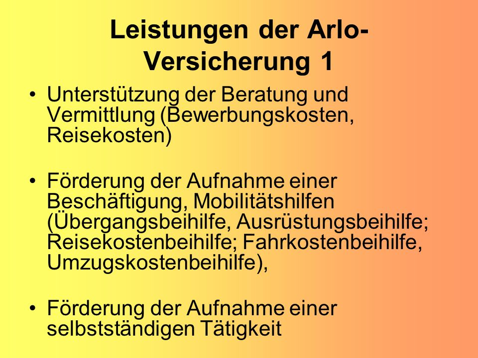 Leistungen der Arlo-Versicherung 1