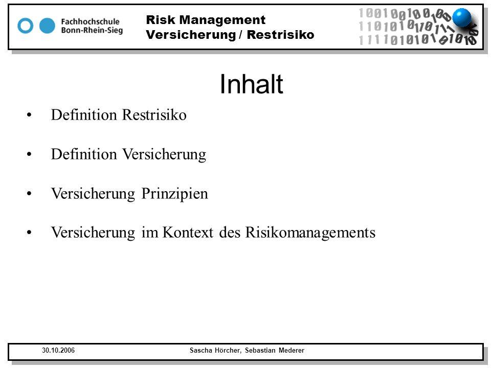 Inhalt Definition Restrisiko Definition Versicherung