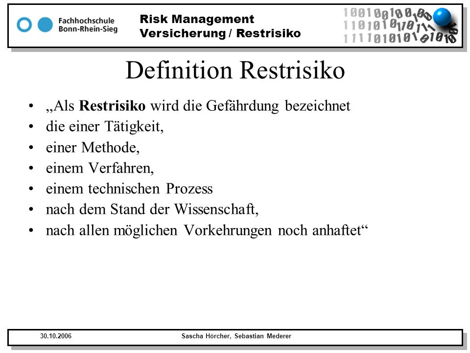 Definition Restrisiko