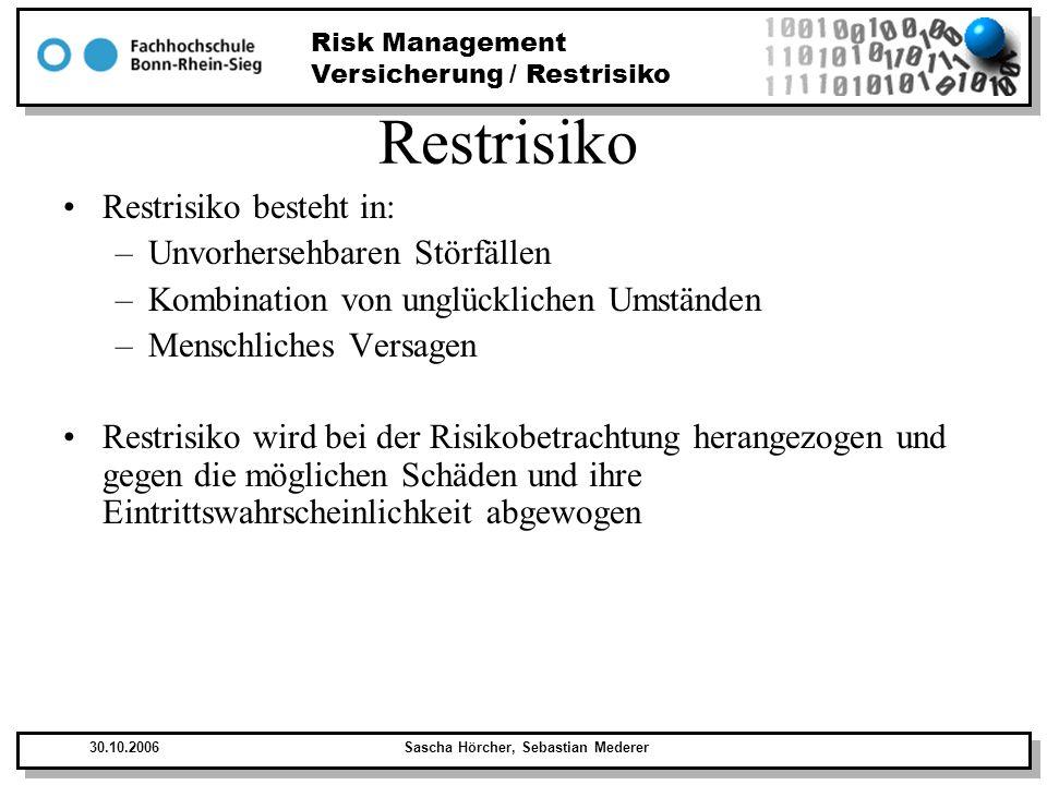 Restrisiko Restrisiko besteht in: Unvorhersehbaren Störfällen