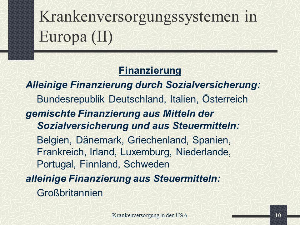 Krankenversorgungssystemen in Europa (II)