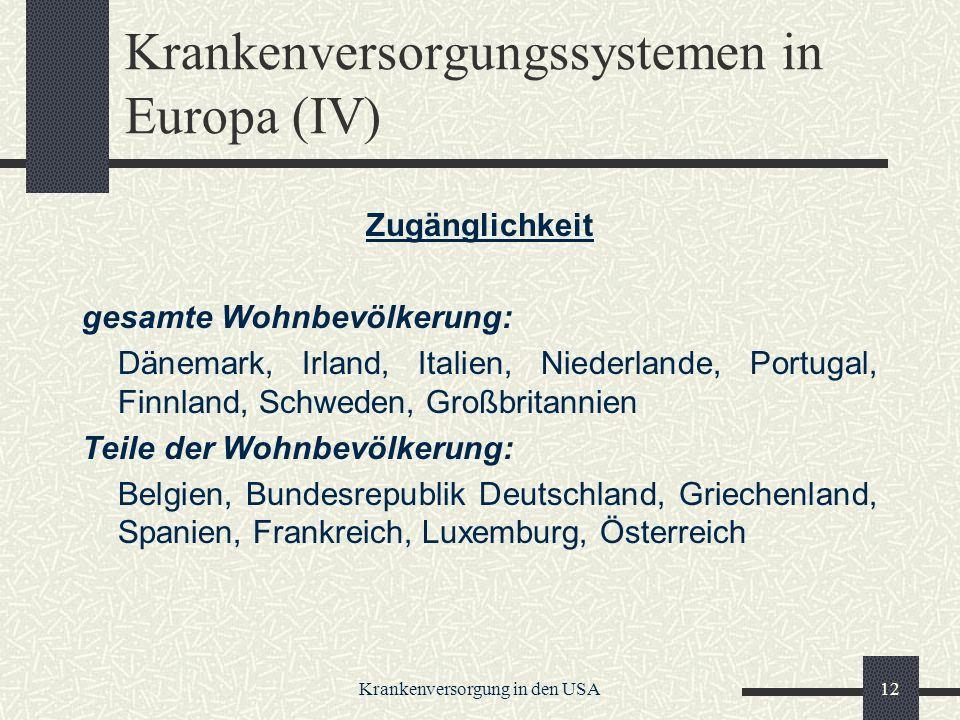 Krankenversorgungssystemen in Europa (IV)