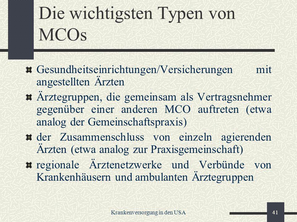 Die wichtigsten Typen von MCOs