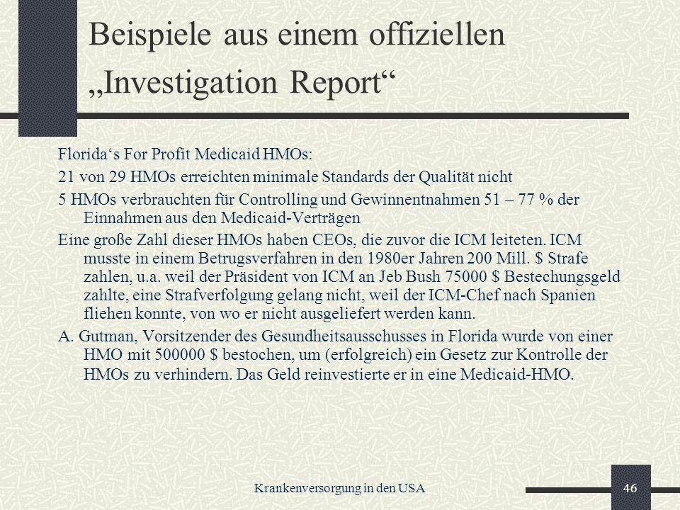 """Beispiele aus einem offiziellen """"Investigation Report"""