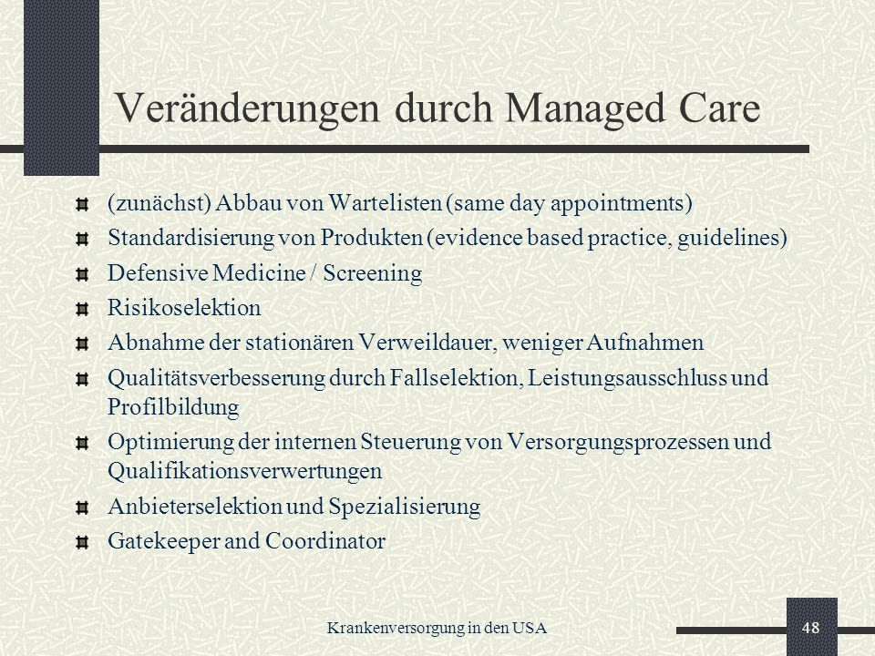 Veränderungen durch Managed Care