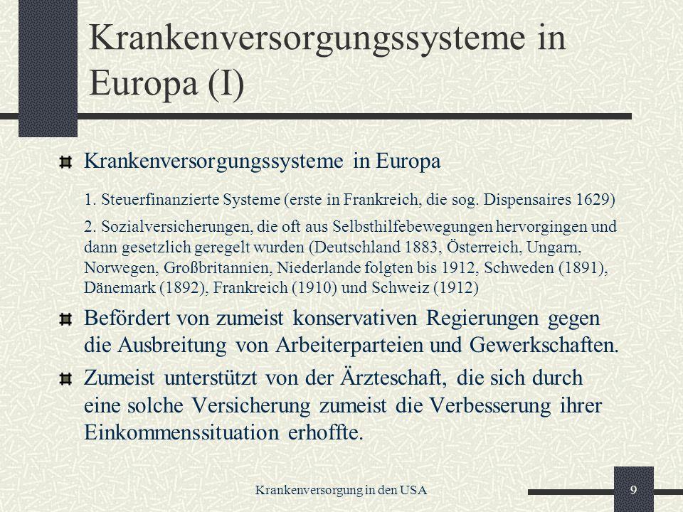 Krankenversorgungssysteme in Europa (I)