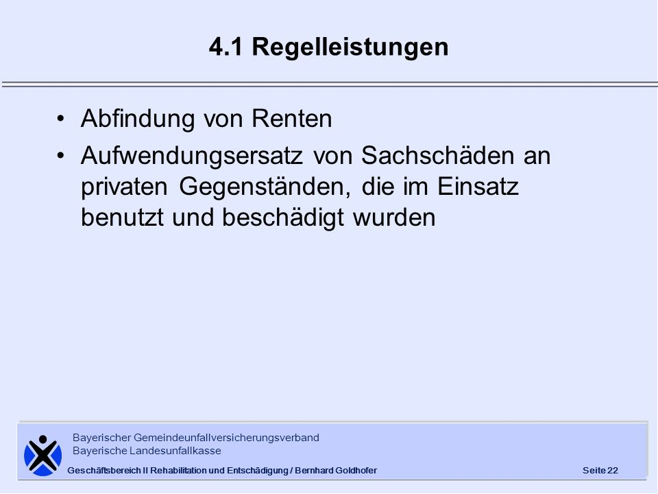 4.1 Regelleistungen Abfindung von Renten