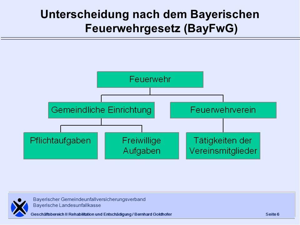 Unterscheidung nach dem Bayerischen Feuerwehrgesetz (BayFwG)