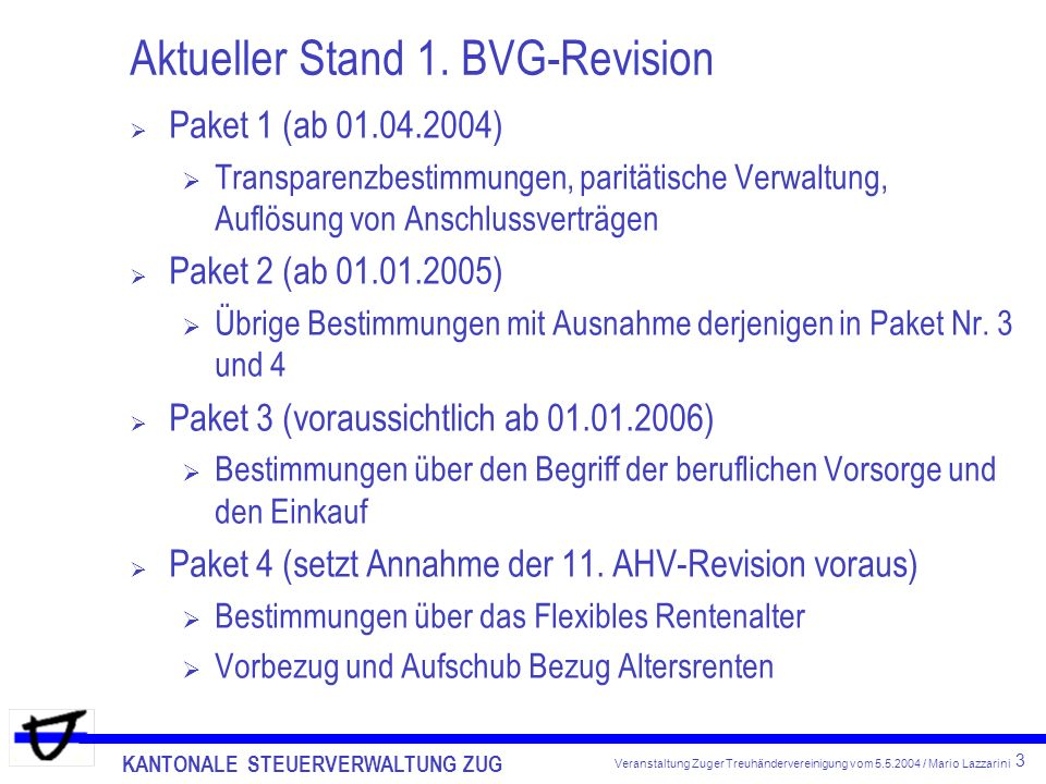 Aktueller Stand 1. BVG-Revision