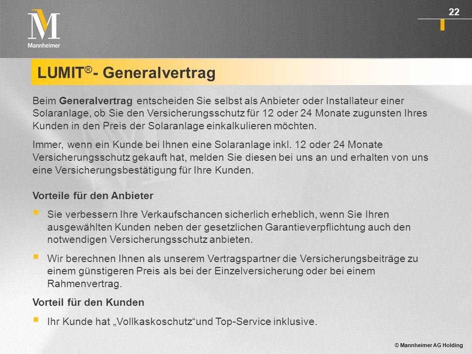 LUMIT®- Generalvertrag