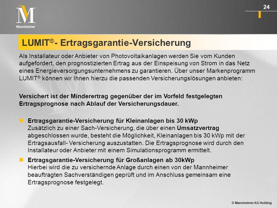 LUMIT®- Ertragsgarantie-Versicherung