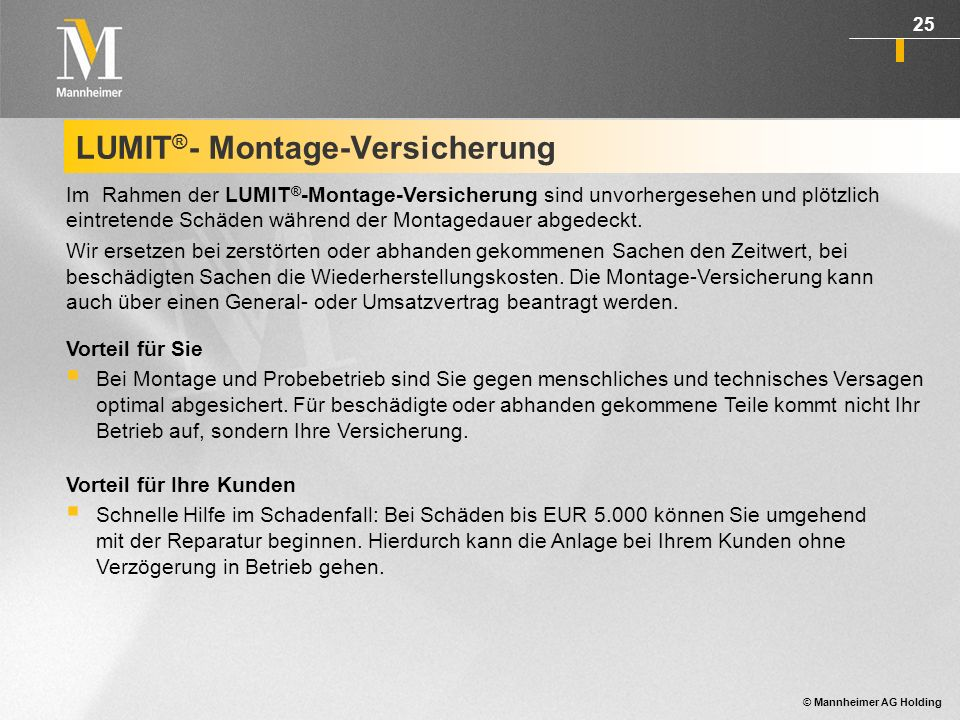 LUMIT®- Montage-Versicherung