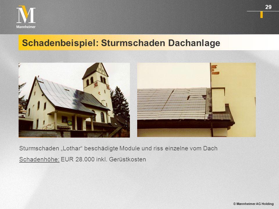Schadenbeispiel: Sturmschaden Dachanlage