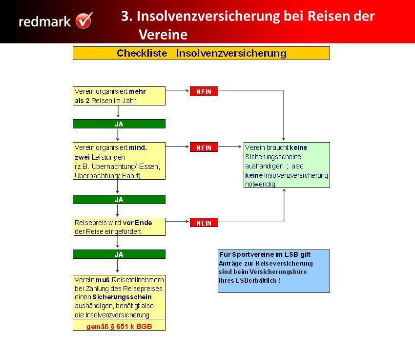 3. Insolvenzversicherung bei Reisen der Vereine