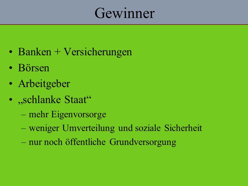 """Gewinner Banken + Versicherungen Börsen Arbeitgeber """"schlanke Staat"""