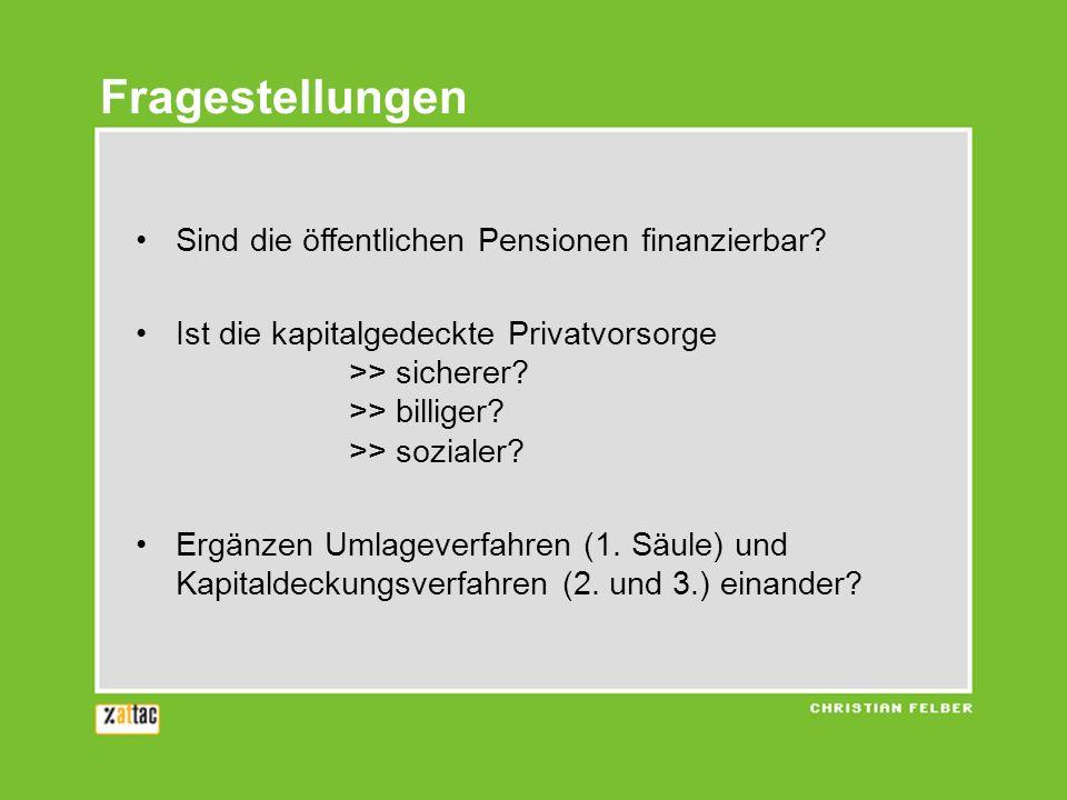 Fragestellungen Sind die öffentlichen Pensionen finanzierbar