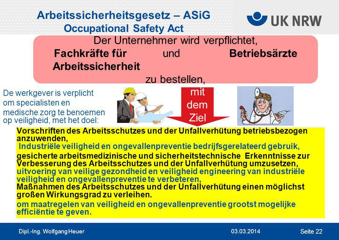 Arbeitssicherheitsgesetz – ASiG Occupational Safety Act