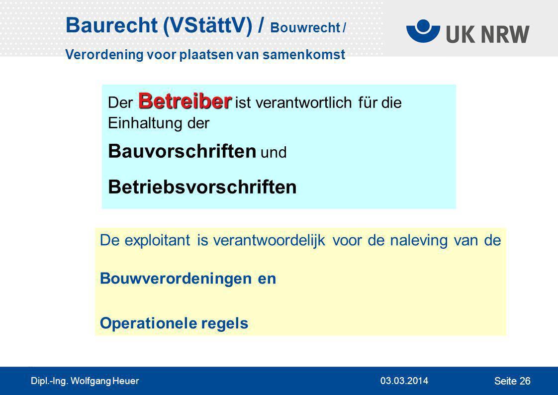 Baurecht (VStättV) / Bouwrecht /