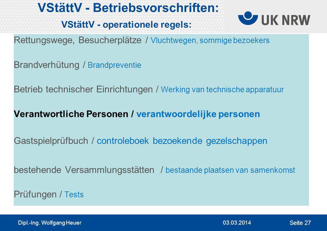 VStättV - Betriebsvorschriften: VStättV - operationele regels: