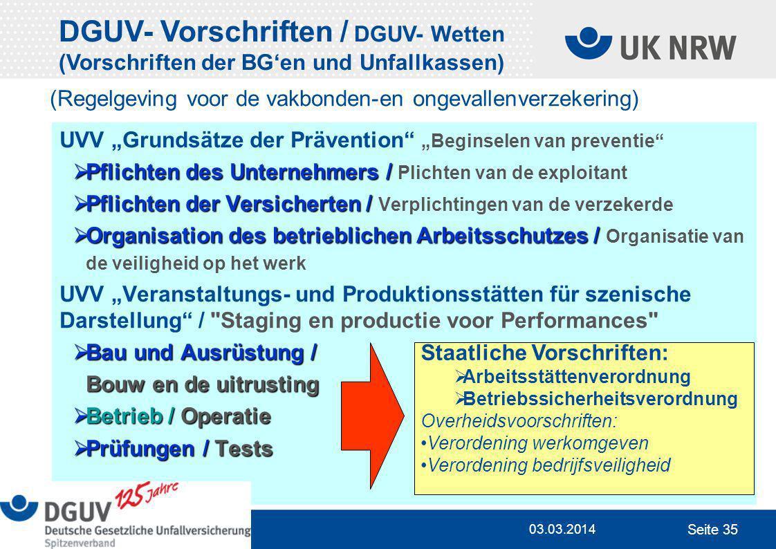 DGUV- Vorschriften / DGUV- Wetten