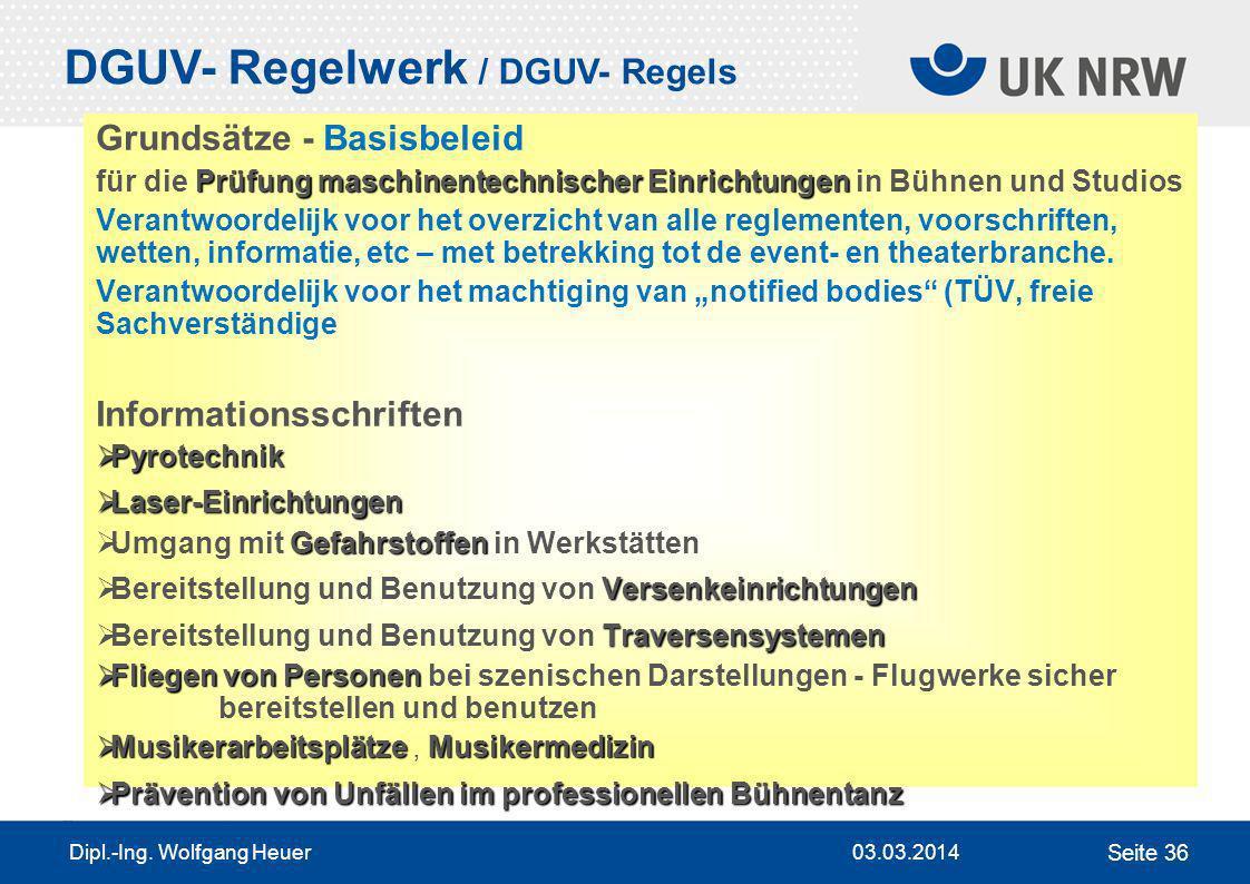 DGUV- Regelwerk / DGUV- Regels