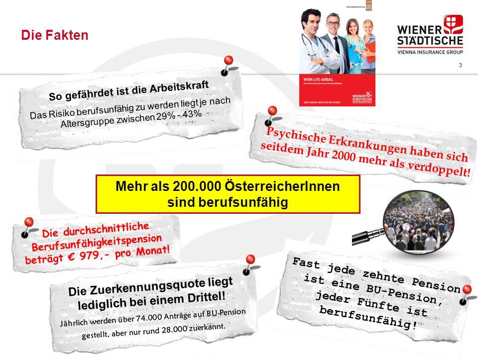 Mehr als 200.000 ÖsterreicherInnen sind berufsunfähig