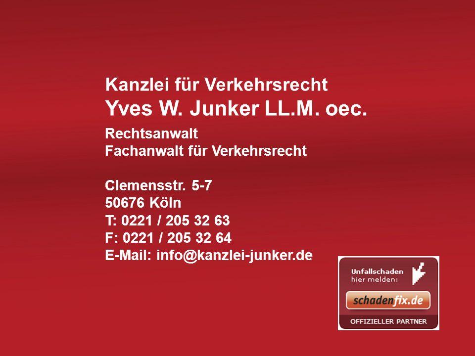 Yves W. Junker LL.M. oec. Kanzlei für Verkehrsrecht Rechtsanwalt