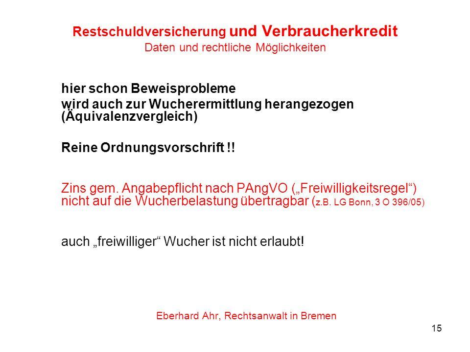 Eberhard Ahr, Rechtsanwalt in Bremen