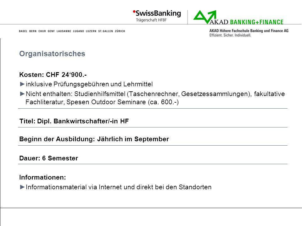 Organisatorisches Kosten: CHF 24'900.-