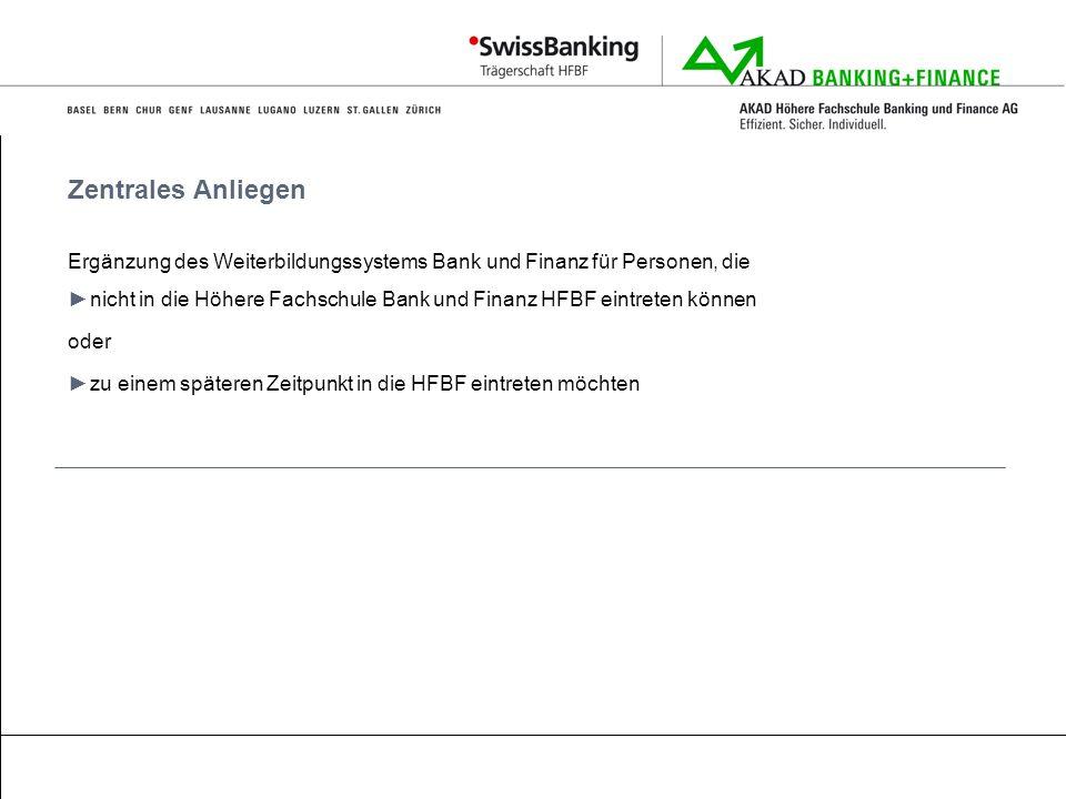 Zentrales Anliegen Ergänzung des Weiterbildungssystems Bank und Finanz für Personen, die.