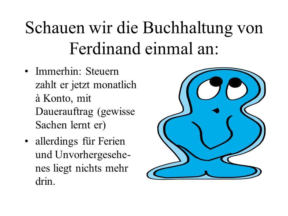 Schauen wir die Buchhaltung von Ferdinand einmal an: