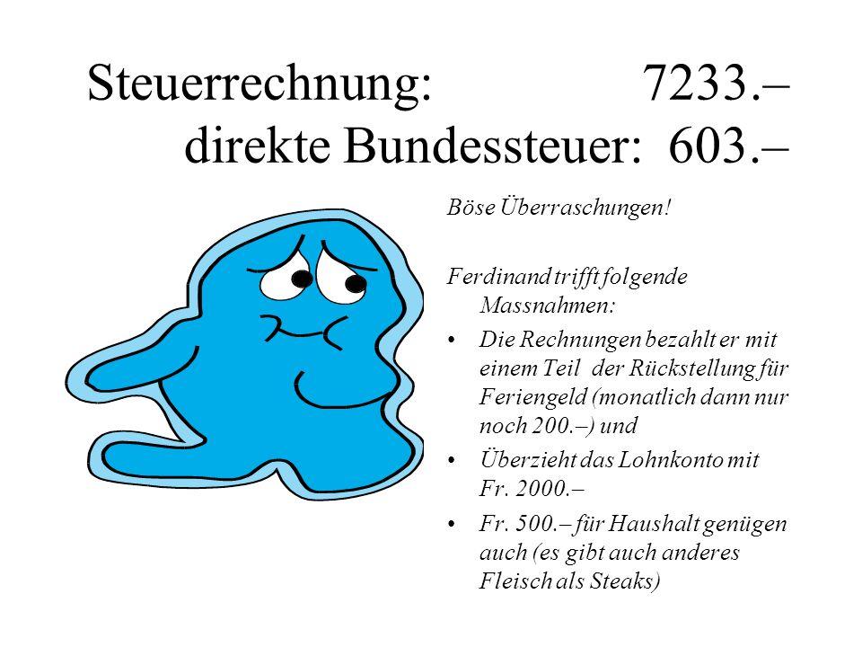 Steuerrechnung: 7233.– direkte Bundessteuer: 603.–
