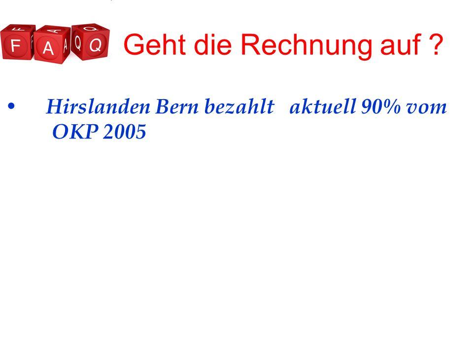 Geht die Rechnung auf Hirslanden Bern bezahlt aktuell 90% vom OKP 2005