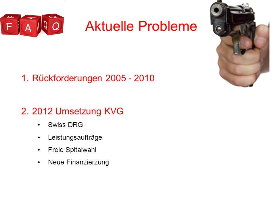 Aktuelle Probleme Rückforderungen 2005 - 2010 2012 Umsetzung KVG