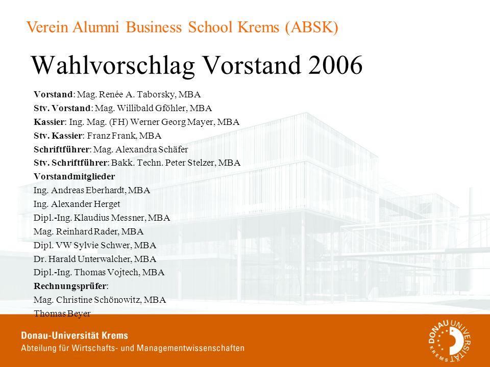 Wahlvorschlag Vorstand 2006