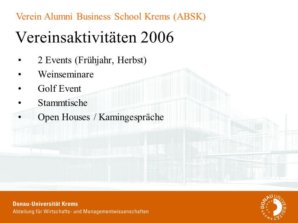 Vereinsaktivitäten 2006 2 Events (Frühjahr, Herbst) Weinseminare