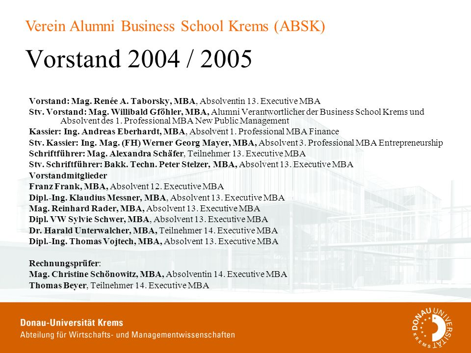 Vorstand 2004 / 2005 Vorstand: Mag. Renée A. Taborsky, MBA, Absolventin 13. Executive MBA.
