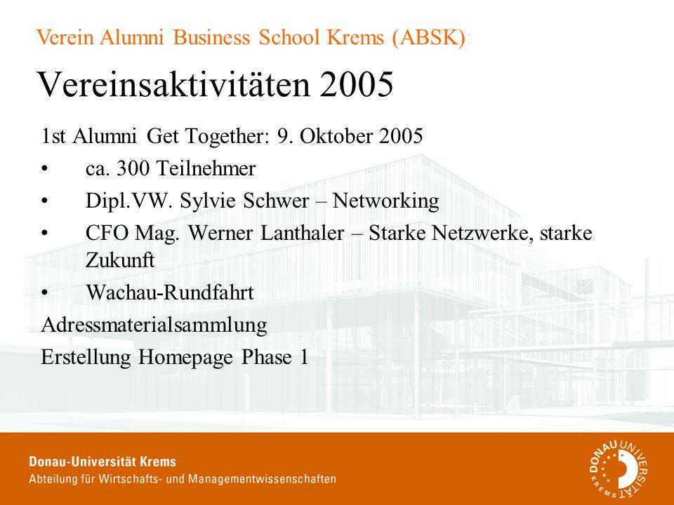Vereinsaktivitäten 2005 1st Alumni Get Together: 9. Oktober 2005