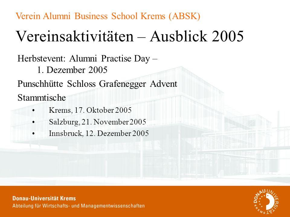 Vereinsaktivitäten – Ausblick 2005