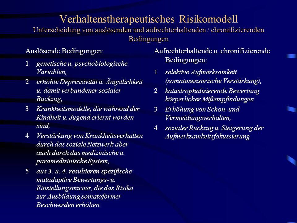 Verhaltenstherapeutisches Risikomodell Unterscheidung von auslösenden und aufrechterhaltenden / chronifizierenden Bedingungen
