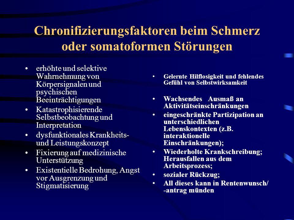 Chronifizierungsfaktoren beim Schmerz oder somatoformen Störungen