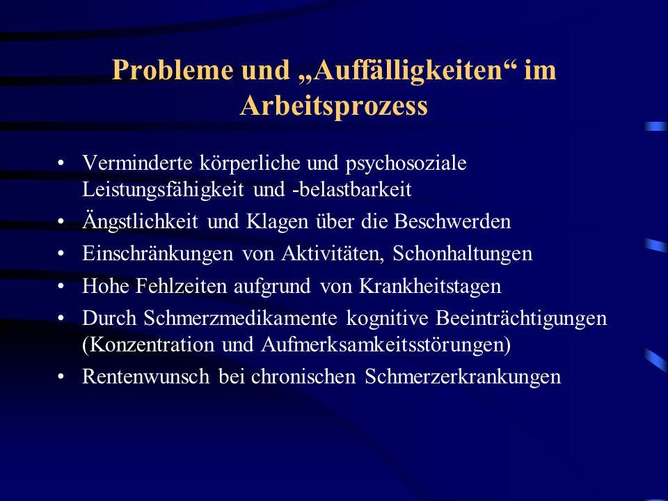 """Probleme und """"Auffälligkeiten im Arbeitsprozess"""
