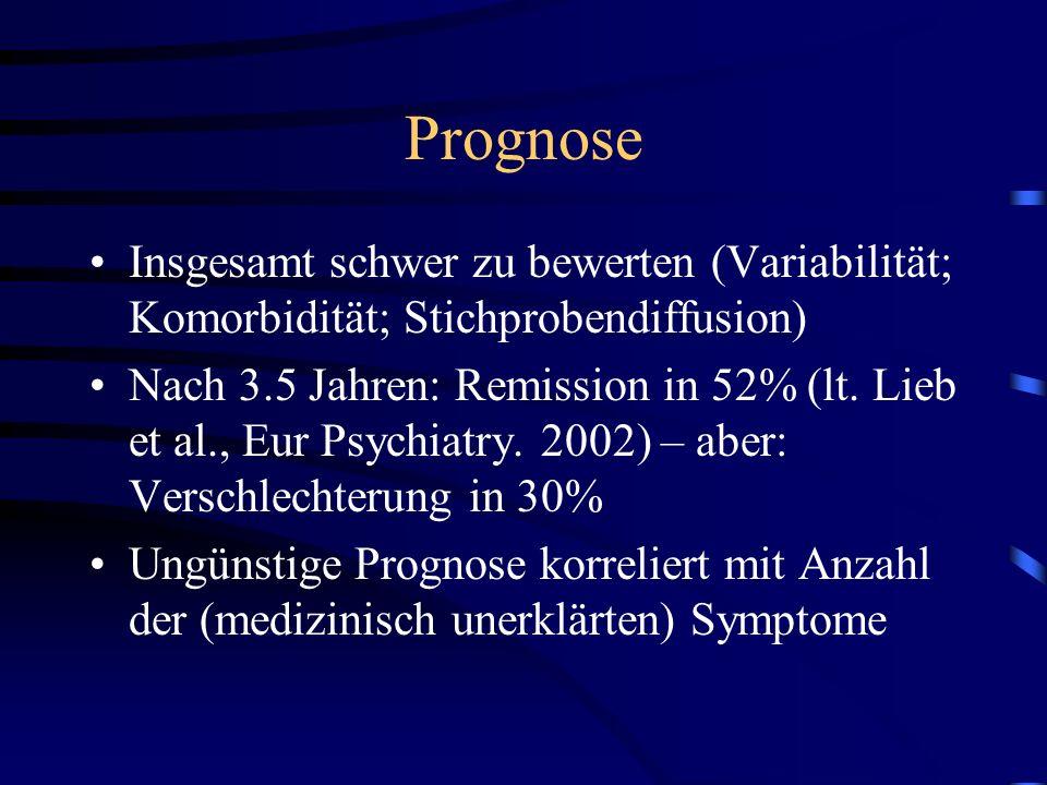 Prognose Insgesamt schwer zu bewerten (Variabilität; Komorbidität; Stichprobendiffusion)