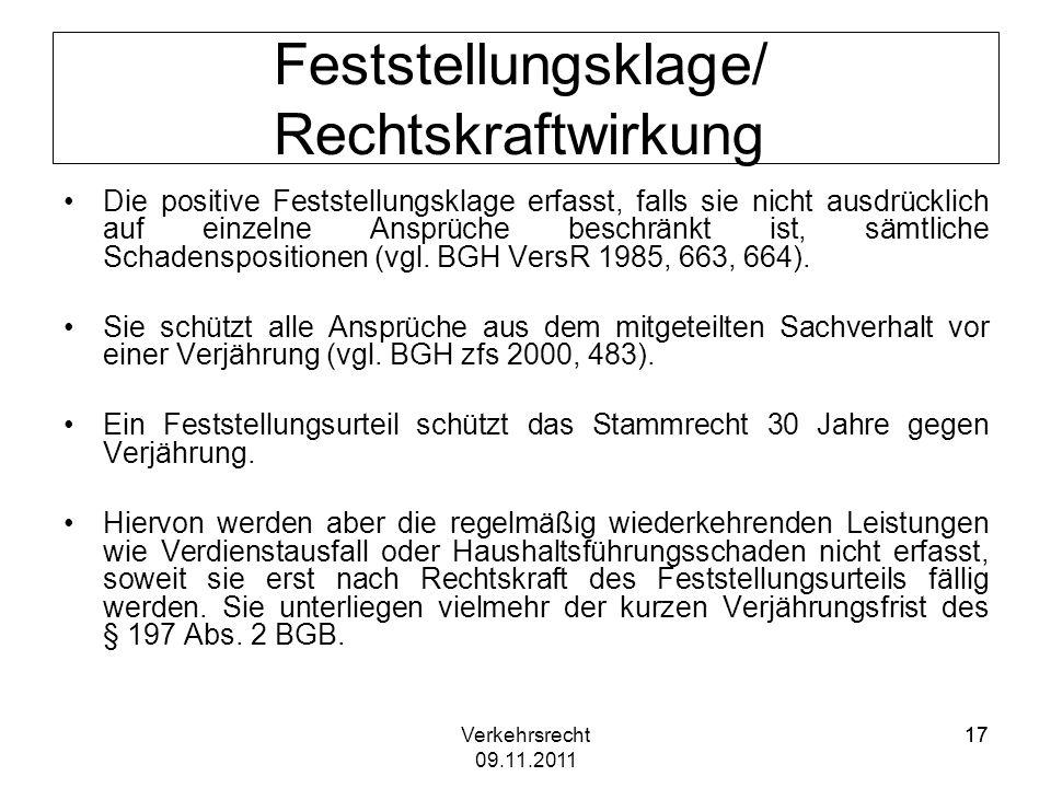 Feststellungsklage/ Rechtskraftwirkung