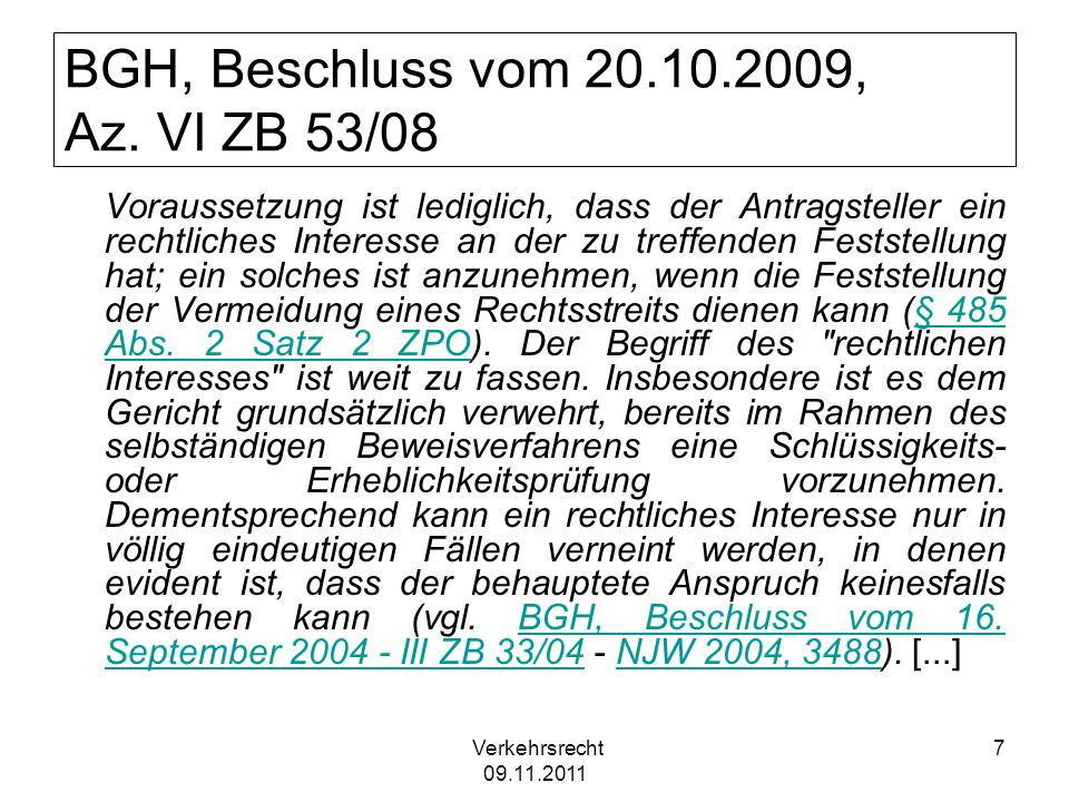 BGH, Beschluss vom 20.10.2009, Az. VI ZB 53/08