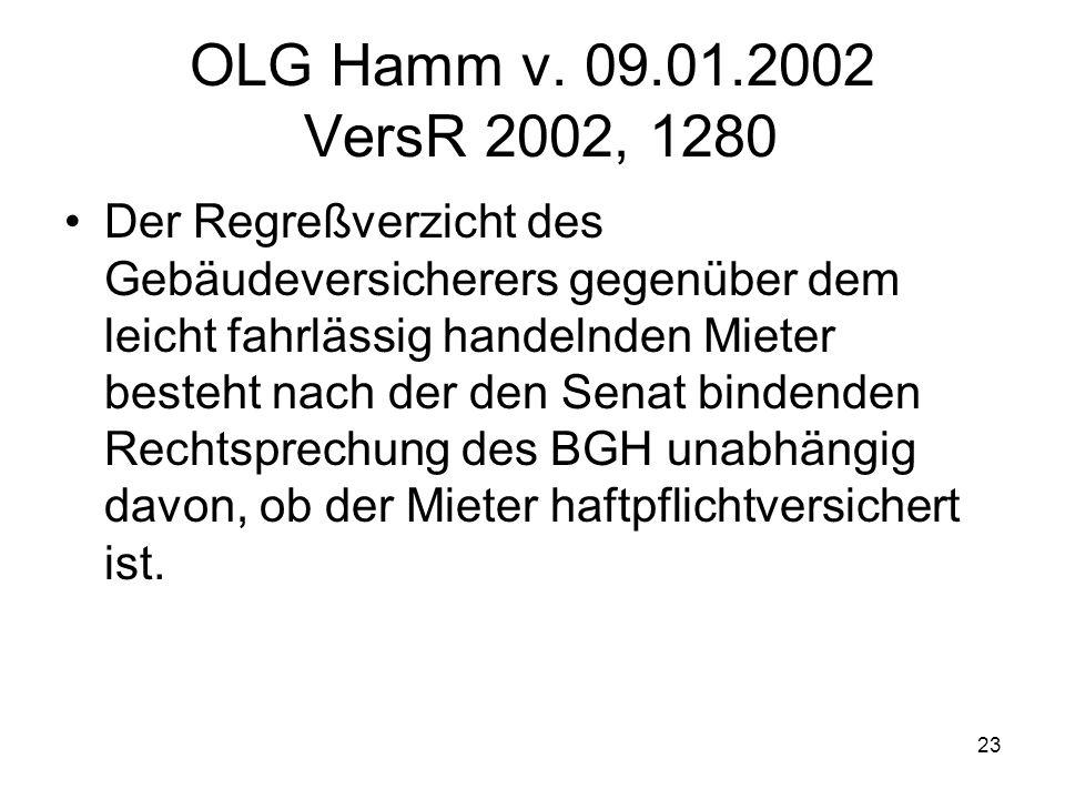 OLG Hamm v. 09.01.2002 VersR 2002, 1280