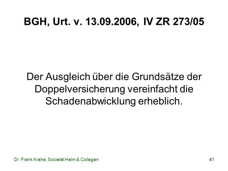 BGH, Urt. v. 13.09.2006, IV ZR 273/05 Der Ausgleich über die Grundsätze der Doppelversicherung vereinfacht die Schadenabwicklung erheblich.